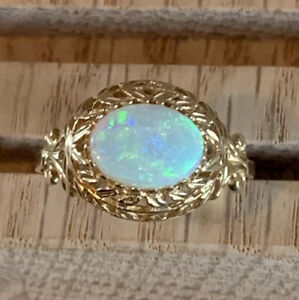 Vintage Inspired Leaf Multi Prong 14k Yellow Gold Oval Opal Ring 7 3/4