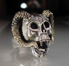 Stainless Aries Ram Skull Biker Ring Custom Sized handmade Zodiac occult R-26ss
