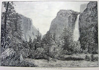 Yosemite Park Valley BRIDAL VEIL FALLS Waterfalls ~ Old 1888 Landscape Art Print