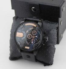 NEW AUTHENTIC DIESEL LITTLE DADDY ROSE GOLD BLACK LEATHER MEN'S DZ7291 WATCH