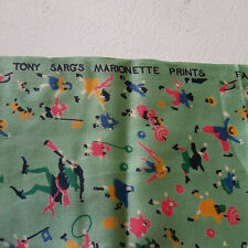 Tony Sarg Marionette Print Fabric Original Textile Sample c1930-40s Pied Piper