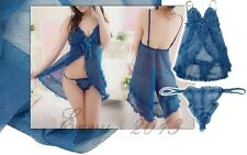 Sexy Blue Sheer Mesh Babydoll Bedroom Lingerie Night Dress Size 6-10 & G-String