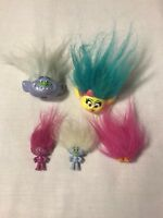 Tolls Movie Figures Lot Of 5 Pink Green Hair  Heads And Mini