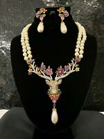 SIGNED SPECTACULAR Heidi Daus Oh Deer Crystal Accented Necklace & Earring Set!