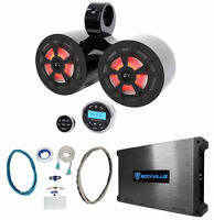"""Rockville Dual 6.5"""" 700w Marine Wakeboard LED Speakers+Receiver+Amplifier+Wires"""