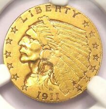 1911-D Indian Gold Quarter Eagle $2.50 Coin (Weak D) - NGC AU Detail - Key Date!