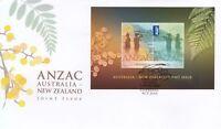 "2015 FDC ANZAC Australia-New Zealand Joint Issue. M.S. ""Wattle"" PictFDI""CANBERRA"