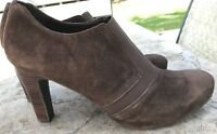FRANCO SARTO A-WHO Brown suede Leather ankle boots Shoes sz 8 M Slip On