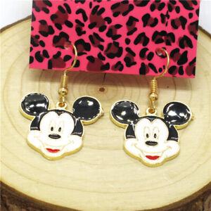 Hot White Enamel Cute Mickey Mouse Crystal Betsey Johnson Women Stand Earrings