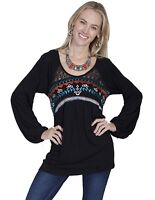 SCULLY Women's Hi Lo Black Western Blouse Embroidery Tunic Shirt  E265 NWT