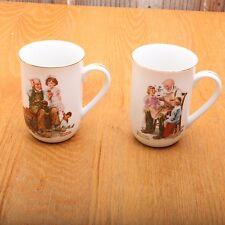 2 Norman Rockwell Classic Scenes Porcelian Museum Mugs
