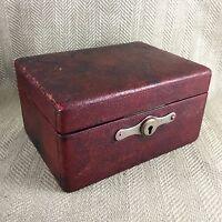 Antique Red Leather Box Jewelry Jewel Edwardian Jewelry Jewllery Chest Case