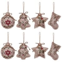 Rustic Christmas Tree Ornaments Stocking Decorations Burlap Country Christm V5A9
