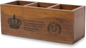 Flexzion Wooden Desktop Organizer Remote Control Holder Caddy Storage Box Wood 3