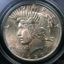 1927 D PEACE DOLLAR PCGS MS 63 OLD BLUE/GREEN HOLDER NICE FAINT GOLDEN LUSTER