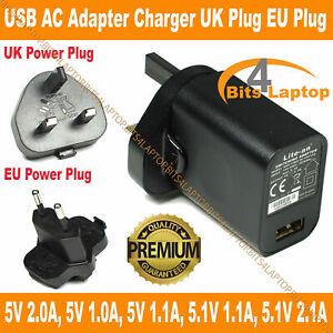 UK 3 Pin 5V 2A (2000mA) USB Adapter Charger Wall Plug PSU Power Supply