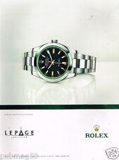 Publicité advertising 2012 La Montre Rolex Oyster Perpetual Milgauss