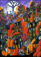 5x7 Art Giclee Print TRICK OR TREAT black cat ghost witch costume Halloween DC