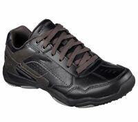 64933 Leather Black Skechers shoes Men Memory Foam Sporty Casual Comfort Sneaker