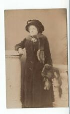 Postcard. Social History. Lady in coat with Fur Cuffs and Collar