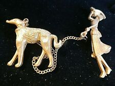 LOVELY  GOLD  COLOUR  DOG WALKER  BROOCH