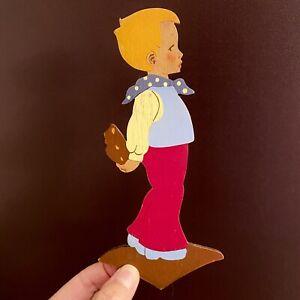 1950er Mertenskunst: Kleiner Lebkuchen-Hänsel 19cm Märchenholzbild Deko Figur