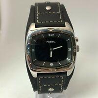 Fossil Mens Big Tic AM-3696 Kaleido Black Leather Strap Cuff Analog Wristwatch