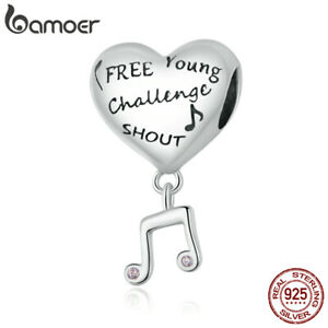 BAMOER Authentic S925 Sterling Silver Heart and Musical Notes Charm Fit Bracelet