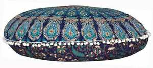 """32"""" Round Floral Mandala Floor Cushion Cover 100% Cotton Meditation Pouf Cover"""