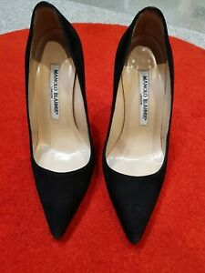 £515 Manolo Blahnik BB High Heel Black Suede Court Heels, Pointy Toe, 34.5, Uk 2