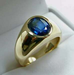2Ct Oval Cut Solitaire Blue Sapphire Men's Wedding Band Ring 14k Yellow Gold FN