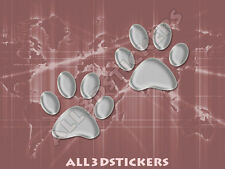 3D Sticker Decal Resin Domed Paws Adhesive Decal  Silver