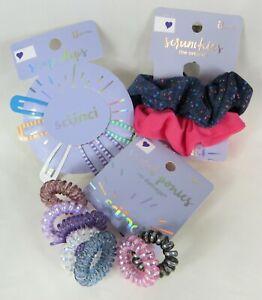 Scunci Lot Scrunchies, Spiral Pony Elastics, Snap Clips Purple Pink Blue