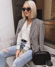 Zara Camel Beige Check Blazer Jacket Size L UK 14