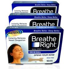 3x Breathe RIGHT Nasal Strisce 10 strisce di grandi dimensioni Originale Tan