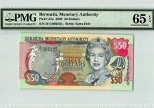 2000 Bermuda 50 Dollars PMG65 EPQ GEM UNC <P-54a> First Prefix & Low No.
