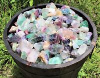 500 Carat Bulk Lot Natural Rough Rainbow Fluorite, Raw Crystal Healing 100 Grams