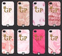 Pink Marble Phone Case +FREE iPhone Stand Personalised Initials Gold Black White