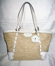 COACH  Natural STRAW Beige PYTHON Patent Leather Studded Tote Bag Size M/L