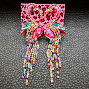 Betsey Johnson Multi-Color Crystal Rhinestone Flamingo Bird Tassel Stud Earrings