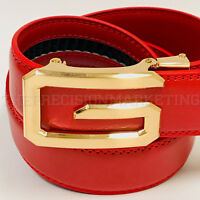 Fashion Automatic Designer Men's Red Gold G Slide Buckle Ratchet  Leather Belt