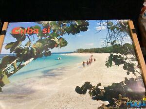 2001 CUBA TRAVEL POSTER, PLAYA GUARDALAVACA, THE MOST BEAUTIFUL BEACH