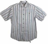 Orvis Mens Button Down Short Sleeve Size Medium Seersucker Stripes Cotton Casual