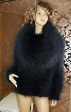 Mohair Hand Knitted Fluffy Black Cowl Neck Sweater Jumper ,  size  M - L