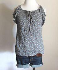 GAP Geometric Tie Neck Ruffle Sleeveless Boho Peasant Blouse Tank Top Shirt S