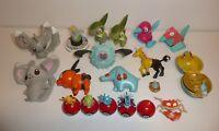 Large Lot of Various Pokemon Figures Pokeballs Mini Figures Plush Toys Bundle