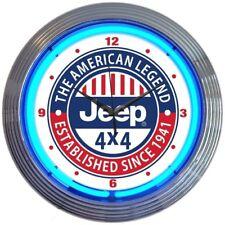 "Jeep The American Legend Neon Clock 15""x15"""
