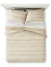Industrial Shop Tonal Stripe Quilt Set ~ Full / Queen ~ Mushroom Tan