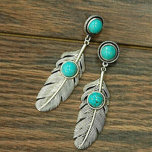 New Tibetan Silver Plated Turquoise Accented Feather Stud Dangle Drop Earrings