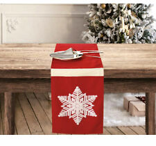 6ft Red Snowflake Embroidered Fabric Christmas Holiday Table Runner Dainty Home